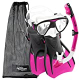 Phantom Aquatics Speed Sport Signature Mask Fin Snorkel Set, Hot Pink, Medium/Size 7-10