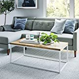 Nathan James 31103 Doxa Modern Industrial Coffee Table Wood and Metal Box Frame, Light Brown/White