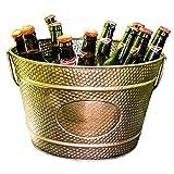 BREKX Hillcrest Bronze Pebbled Galvanized Beverage Tub Wine Bucket & Planter, Medium