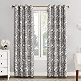 Sun Zero Caroline Woven Damask Blackout Lined Grommet Curtain Panel, 52' x 95', Gray