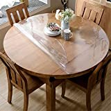 OstepDecor 2.0mm Thick Crystal Clear 54 Inches Round Table Protector for Dining Room Table, Water Resistant Non-Slip Vinyl Table Pad Circle Table Cover for Coffee, Glass
