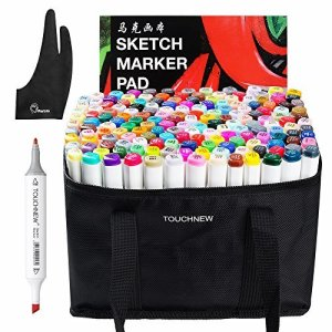 Arrtx 168 Colors Graphic Drawing Painting Alcohol Markers Dual Tip Sketch Twin Marker Design Coloring Highlighting Set with Carry Bag, A4 Book, Glove