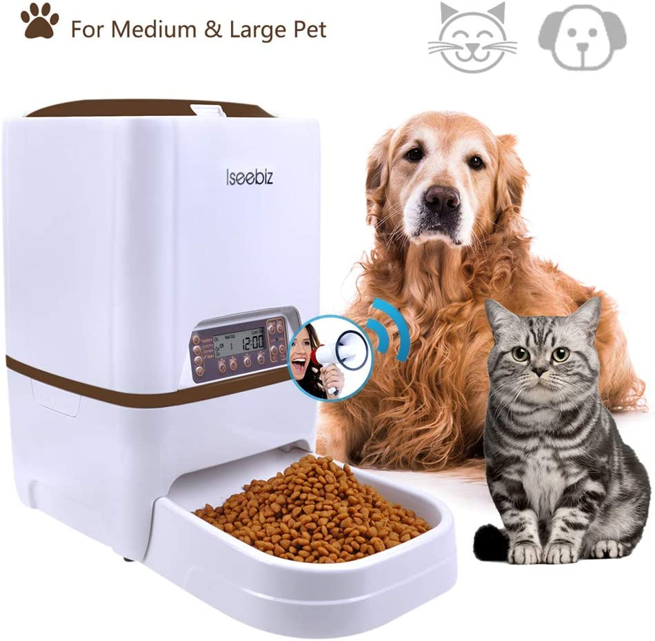 Iseebiz 6 litro Comedero Automatico para Perros Dispensador Automatico Comida Gatos con Recordatorio por Voz y Temporizador Programable 4 Comidas Diario