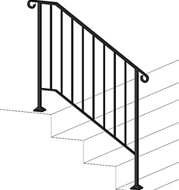 Iron X Handrail Picket 3 Brick Or Paver Steps Amazon Com   Metal Handrails For Steps   Diy   Stair   Single Post   Victorian   Small