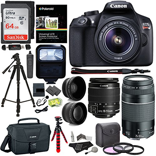 Ritz Camera Canon EOS Rebel T6 DSLR Camera Kit, EF-S 18-55mm IS II Lens, EF 75-300mm III Lens, Polaroid Wide Angle, Telephoto Lens, 64GB and Accessory Bundle