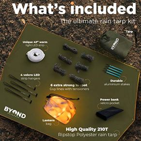 BYOND-Rain-Fly-Hammock-Tent-Tarp-Unique-Velcro-LED-Strip-Waterproof-Camping-Travel-115-x-10-ft-Tarp-for-Outdoor