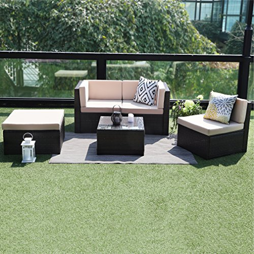 5PCS-Outdoor-Patio-Furniture-SetWisteria-Lane-Garden-Lawn-Rattan-Sofa-Cushioned-Seat-Wicker-Sofa