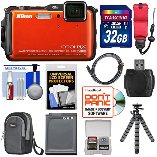 Nikon Coolpix AW110 Shock & Waterproof GPS Digital Camera (Orange) - Factory Refurbished with 32GB Card + Battery + Case + Float Strap + HDMI Cable + Flex Tripod + Accessory Kit