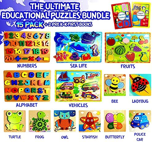 15 Pack Premium Chunky Wooden Puzzles for Toddlers Ages 2-4 - Toddler Learning Toys for Boys & Girls - Alphabet, Numbers, Fruits, Sea Life, Vehicles, Animals - Jigsaw Peg Puzzles for Kids - Value Set