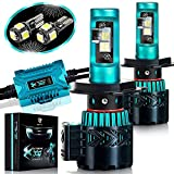 Glowteck LED Headlight Bulbs Conversion Kit - H4(9003) CREE XHP50 Chip 12000 Lumen/Pair 6K Extremely Bright 68w Cool White 6500K For Bright & Greater Visibility 2 Year Warranty