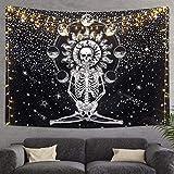 "Skull Tapestry Meditation Skeleton Wall Hanging Tapestry, Chakra Starry Tapestry-Black and White Stars, Mural for Bedroom, Living Room, Dorm, Home Decoration (51.2"" x 59.1"")"