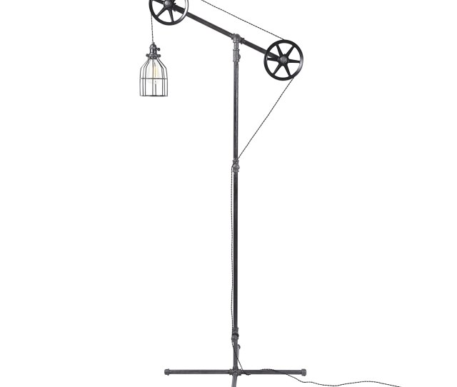 West Ninth Vintage Black Pendant Industrial Standing Floor Lamp With Black Steel Wheels Use In Any Room Add Character To Your Office Living Room Or