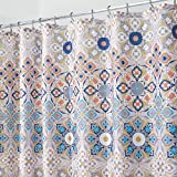 mDesign Decorative Medallion Print, Easy Care Fabric Shower Curtain with Reinforced Buttonholes, for Bathroom Showers, Stalls and Bathtubs, Machine Washable - 72' x 72', Tan/Shades of Blue