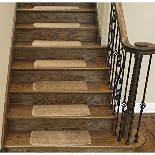 Ottomanson Softy Stair Treads Solid Beige Camel Hair, Skid Resistant Rubber Backing Non Slip Carpet 9