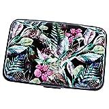 Aluminum Wallet RFID Blocking Metal Credit Card Holder Slim Hard Case (Tropical Floral)