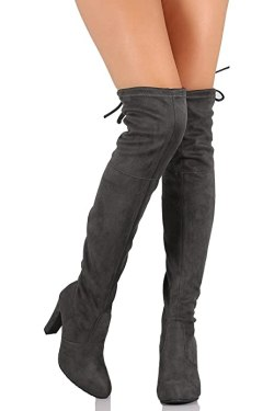C. Longford Women's Diva Thigh High Over The Knee - Drawstring Block Chunky Heel Pointy Round Toe - Stretchy Thigh High Snug Fit Boots Grey Su 5.5
