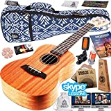 Ukulele Starter Kit - Includes Mahogany Uke, Compression Sponge Case, Aquila Strings, Felt Picks, Tuner, Chord Stamp, Chord Chart, Leather Strap with Live Online Lessons