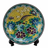 Jpanese traditional ceramic Kutani ware. Decorative Plate with a stand. Yoshidaya gold crane. With wooden box. ktn-K5-1391