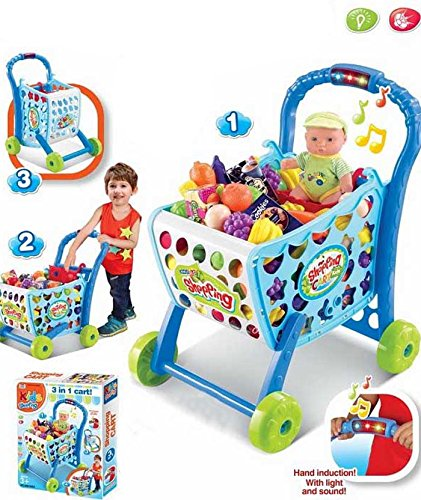 Smiles Creation 3 in 1 Shopping Cart Toy with Fruits and Vegetables Toy for  Kids: Amazon.in: Toys & Games