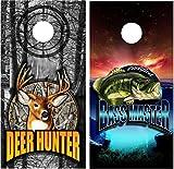 Corn Hole Wrap set! Deer Hunter vs Bass Master 2x Decals (24' x 48') Custom Camo logo Sport White Tail Sunset Lake graphics for cornhole baggo Bag Toss boards game