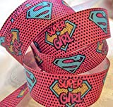 "Grosgrain Ribbon *SuperGirl* Inspired Print - 7/8""W - 5 Yards"