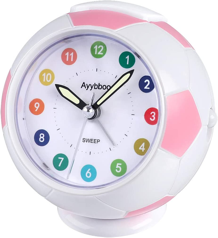 Ayybboo Analogue Alarm Clock For Kids Bedside Alarm Clock Non Ticking Travel Alarm Clocks Battery Operated With Nightlight Snooze Bedroom Office Alarm Clocks Mechanical Wind Up Clocks Home Kitchen