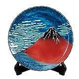 Jpanese traditional ceramic Kutani ware. Decorative Plate with a stand. Hokusai gaihukaisei. With wooden box. ktn-K5-1382