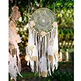 """AerWo Boho Dream Catchers Handmade White Gold Feather Dreamcatchers with Flowers for Wall Hanging Decoration, Wedding Decoration Craft (Dia 7.8"""" Length 20"""")"""