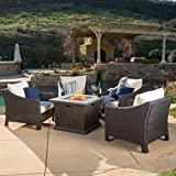 Christopher Knight Home Outdoor 4-Piece Wicker Club Chair Set with 32-inch Square Liquid Propane Fire Pit