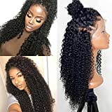 250% Density 360 Lace Frontal Wigs For Black Women Brazilian Curly Pre Plucked 360 Lace Wig Glueless Human Hair Wigs With Baby Hair (12 inch with 250 density,Curly)