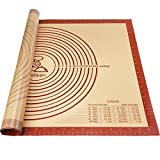 Oudisen Silicone Pastry Mat Baking Mat Non-Stick Non-Slip Extra Large Bread Kneading Board with Measurements Board for Rolling Dough Thicken (28' x 20')