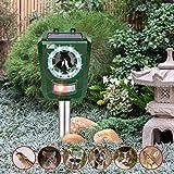 INTEY Outdoor Animal Repellent Solar Ultrasonic Cat Repeller with LED Flashlight Animal Driven Device Dog Repellent Waterproof IP44 Design