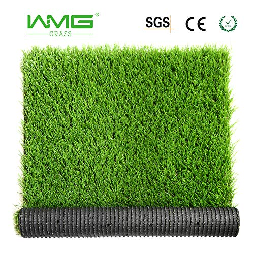 WMG Artificial Grass w/Drainage Holes & Rubber Backing 3'x5' Realistic Synthetic Artificial Turf Soft Pet Turf Fake Grass for Patio Yard Balcony Indoor/Outdoor Décor, 1 Pack