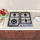 WindMax 23' Stainless Steel 4 Burner Stove Gas Hob Cooktops 11259Btu 3300W Cooker
