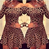 tazimall Women Sexy Leopard Dresses Long Sleeves Vestidos Femininos Slim Mini Dress S/M/L/XL