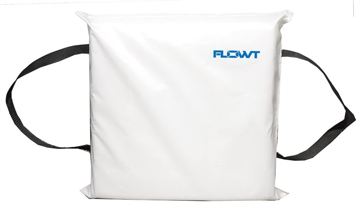 Amazon.com : Flowt Type IV Throwable Floatation Foam Cushion USCG Approved – We keep several of these located around the boat.