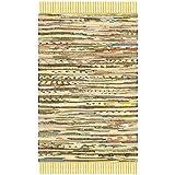 Safavieh Rag Rug Collection RAR121H Hand Woven Yellow and Multi Cotton Area Rug (2' x 3')