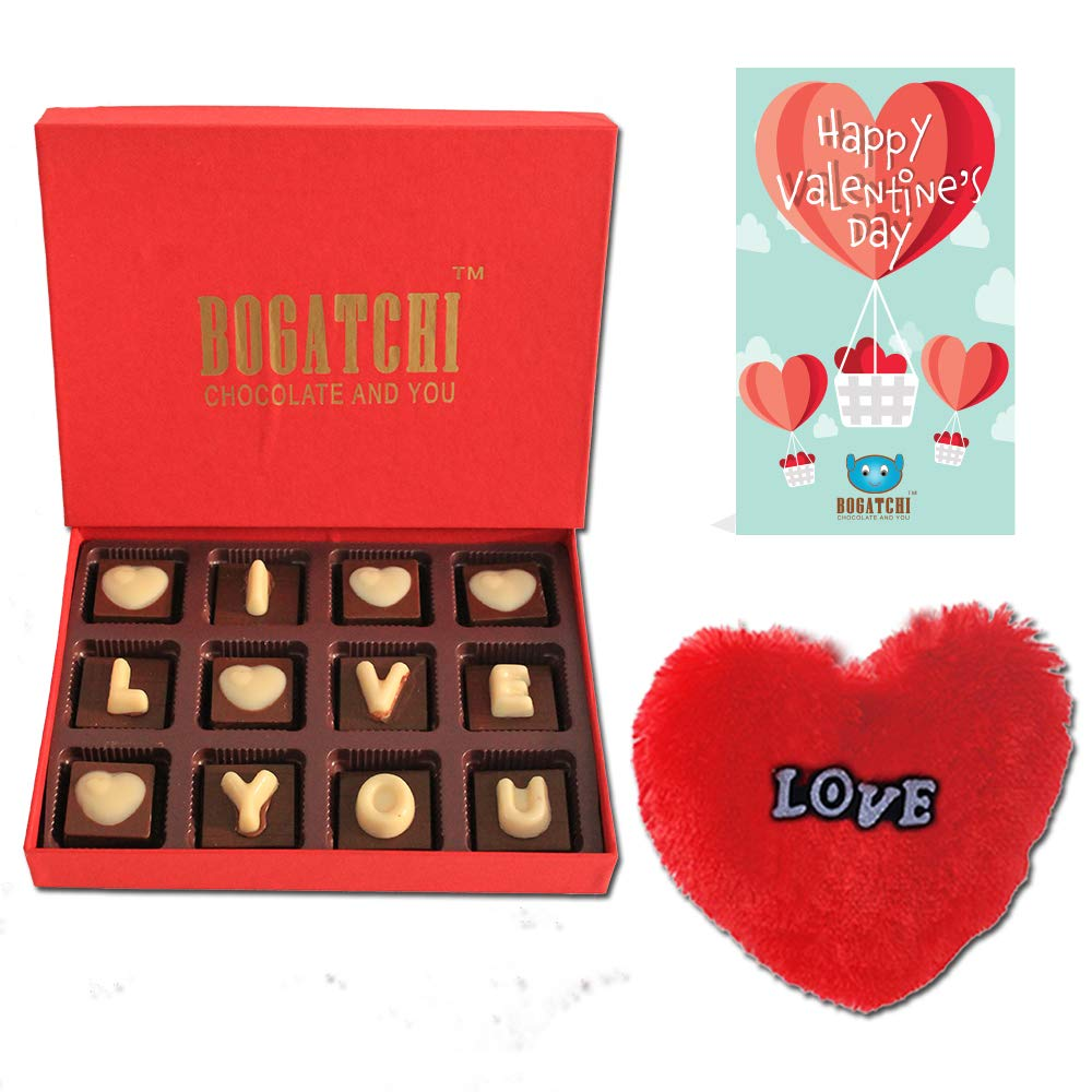 Bogatchi Chocolates Valentine Day Gift For Girlfriend Love Box 120g Free V Day Card Free Fur Heart Amazon In Grocery Gourmet Foods