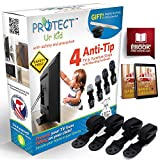 TV & Furniture Anti tip Safety Anchor Straps, Earthquake Safe, Child & Baby Proof, with Magnetic Stud Finder & Mounting Hardware, (4 Pack) by Protect Ur Kid