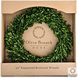 Olive Branch Home Preserved Boxwood Wreath (20 Inch Round)