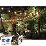 48-Feet LED Outdoor Weatherproof Color Changing String Light Set in Black with Heavy Duty Cord, 24 Non-Breakable Color Changing LED Bulbs and Wireless Remote