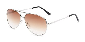 Readers.com | The Conrad Reading Sunglasses +1.25 Silver with Amber Aviator Stylish Men's & Women's Full Frame