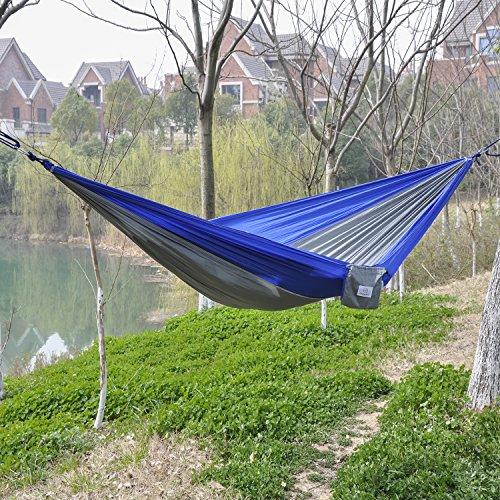 OuterEQ Portable Parachute Nylon Fabric Travel Camping Hammock Blue/grey