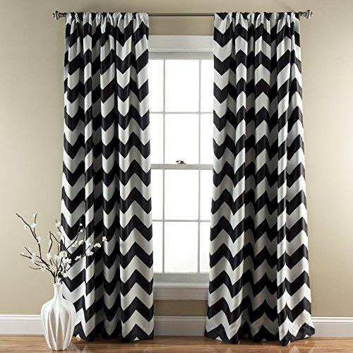 "Lush Decor Chevron Blackout Curtains Window Panel Pair | Room Darkening, Energy Efficient Drapes 84"" x 52"", Black, Set 84' x 52'"