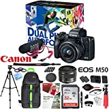 Canon EOS M50 Mirrorless Digital 4K Camera Video Creator Kit Bundle with EF-M 15-45mm Lens, Rode VIDEOMIC GO, 2X 32GB, Dual Battery, Backpack, Tripod, Paintshop Software and Accessories (12 Items)