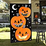 AerWo Pumpkin Bean Bag Toss Games + 3 Bean Bags, Halloween Games for Kids Party Halloween...