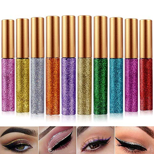 Glitter Eyeliner Liquid Eyeshadow 10 Colors Highlighter Brighten Concealer Face Eye Cosmetic Glow Shimmer Makeup Glitter Brighten Pigments Makeup Cover Perfection Tip Concealer for women (10 Pcs)