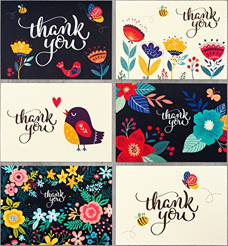 Thank You Cards by Spark Ink - 36 Floral Thank You Notes with Envelopes for Wedding, Baby & Bridal Shower, and Business Use - 4x6 Size - Bulk Pack