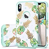 Fingic Case for iPhone Xs,iPhone X/iPhone 10 Case,Pineapple&Fresh Green Silicone Design [Support Wireless Charging] [Anti-Scratch] Hard PC Soft Rubber Protective Case for Apple iPhone X/XS 5.8',Green