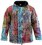 Shopoholic Fashion Men's Patchwork Hippie Fleece Lined Winter Jacket Bohemian Festival Hippy Hoodie(XL)